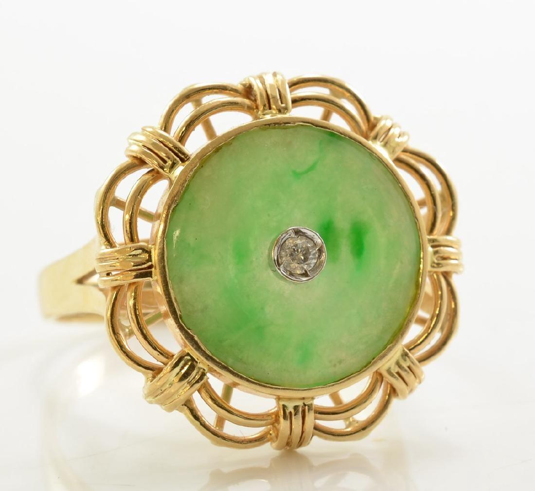 Ladies 14K Jade and Diamond Ring