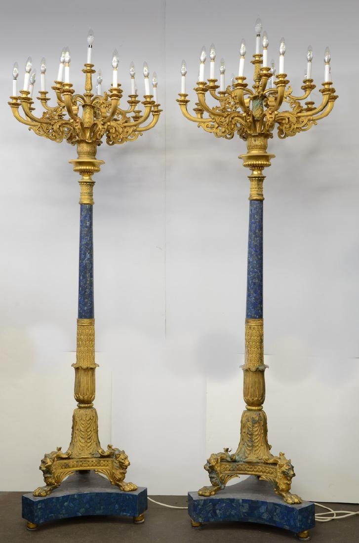 Pair of Empire Style Gilt Bronze Torchieres