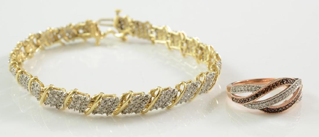 Ladies 10K Diamond ring and bracelet