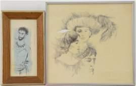 2 pen and ink drawings by Robert J Lee