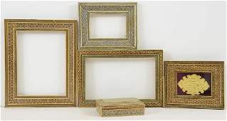 Inlaid Persian Frames, box and Plaque