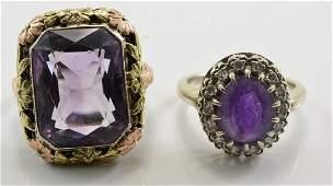 Two Ladies 14K Amethyst Rings