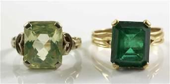 Two Ladies 14K Gemstone Rings