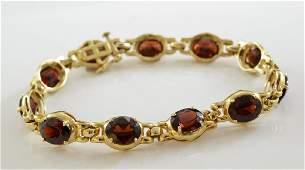 Ladies 14K Garnet Bracelet