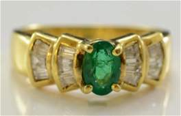 Ladies 18K Diamond  Emerald Ring
