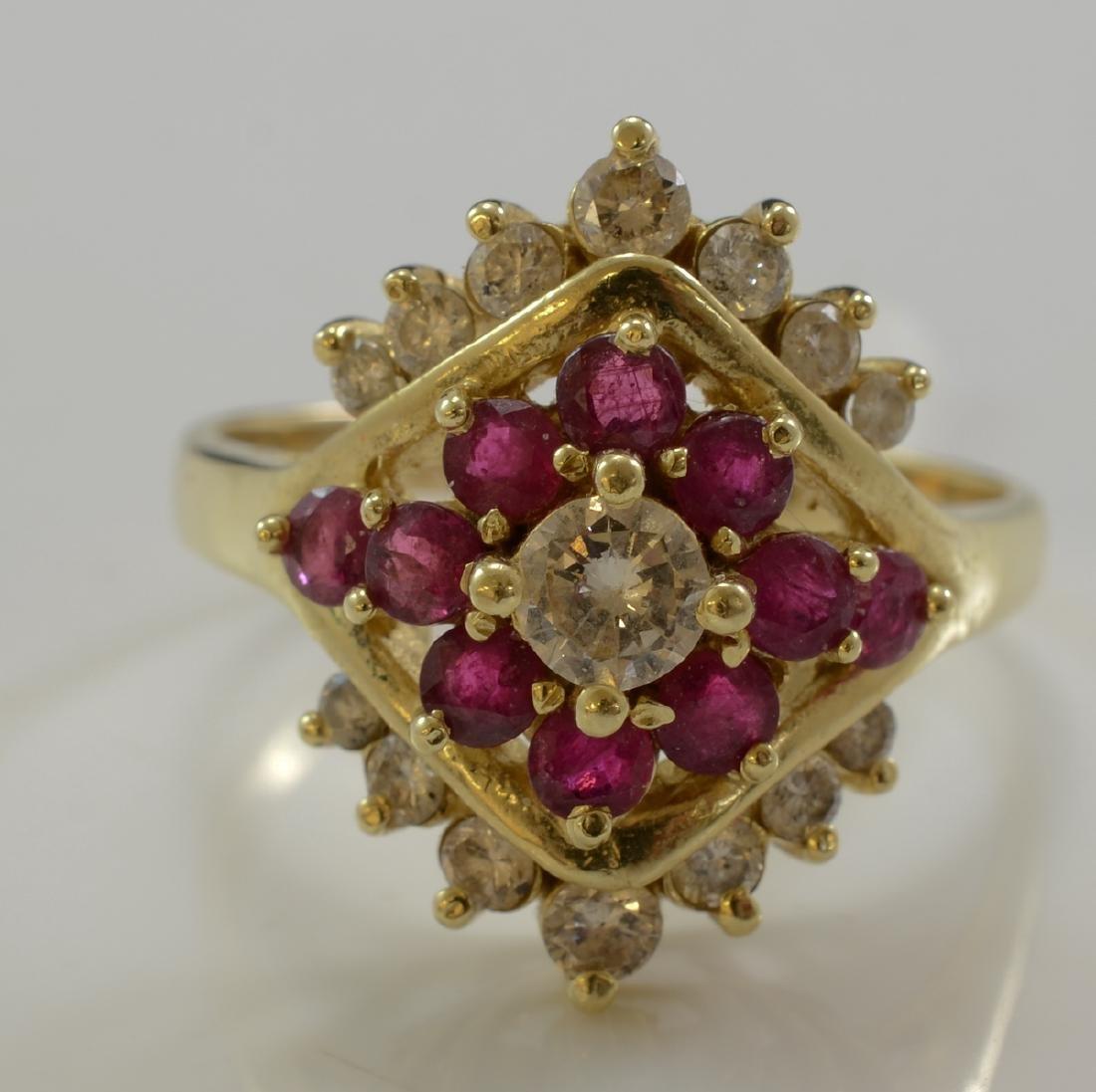 Ladies 14K Ruby and Diamond ring
