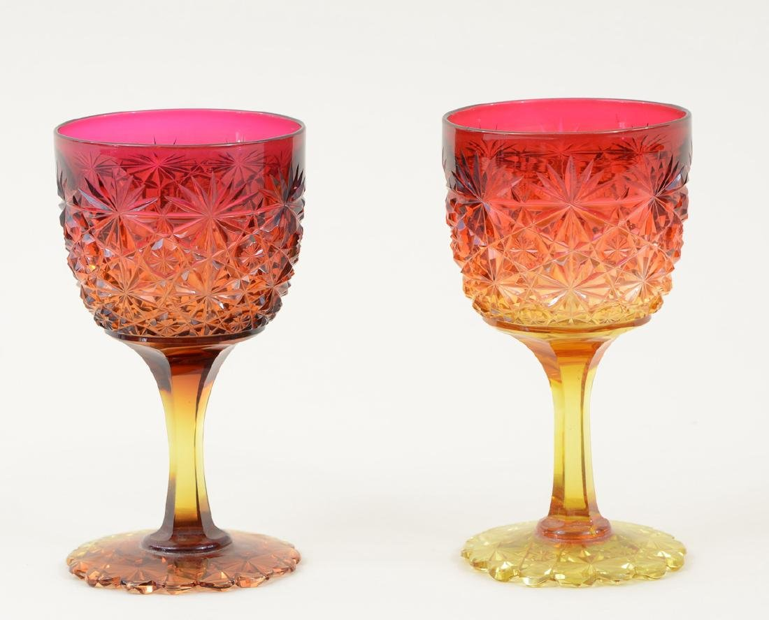 Two American Brilliant Cut Glass Stems