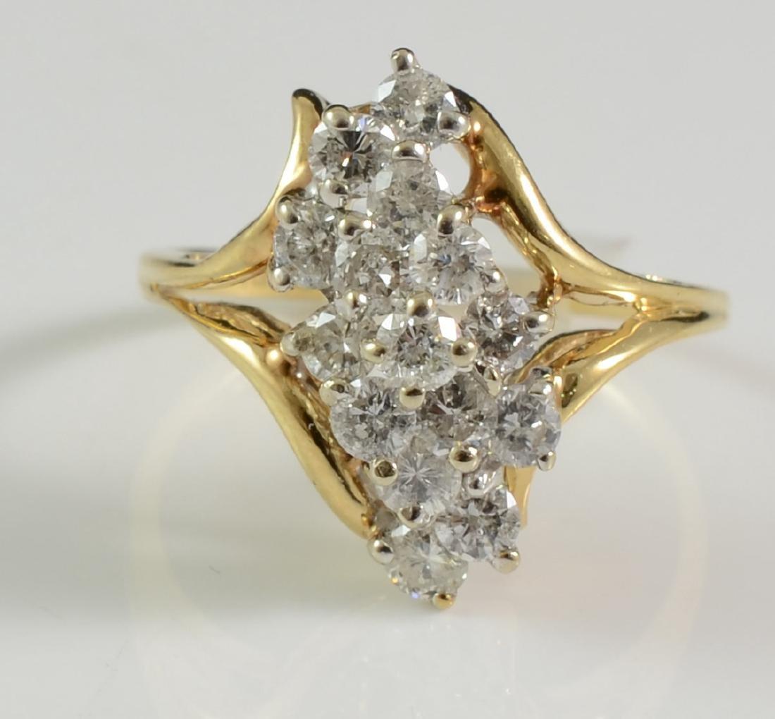 Ladies 14K Diamond Cluster Ring