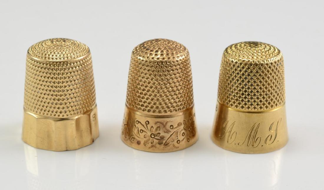 Three Antique 14K Gold Thimbles