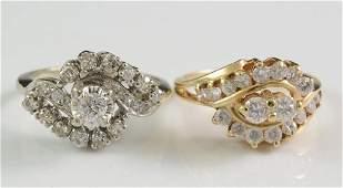 Two Ladies 14K Diamond Cocktail Rings