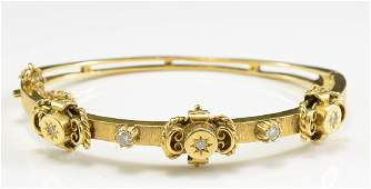 Antique 14K Diamond Bangle Bracelet
