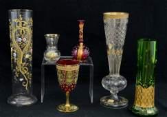 6 Pcs Bohemian Art Glass