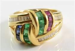 Ladies 18K Multi Gemstone Ring
