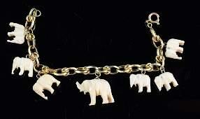 Ladies 14K Elephant Charm Bracelet