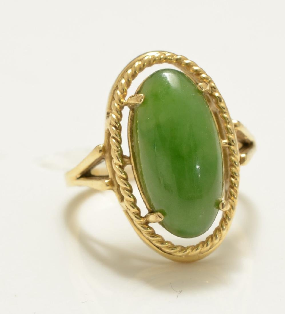 Ladies 14K Green Jade Ring
