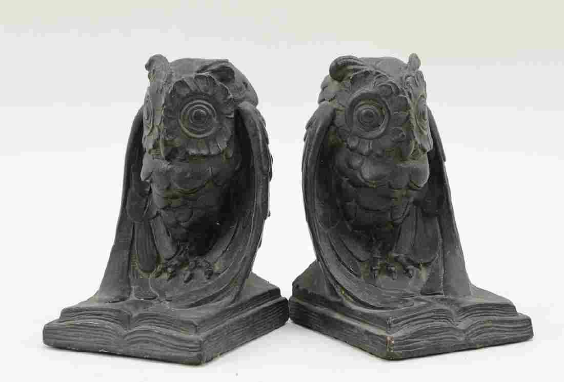 Pair of  Art Bronze Owl Bookends