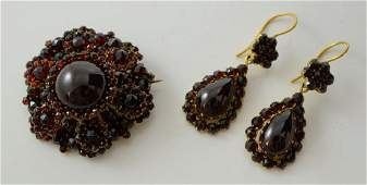 Victorian Garnet Pin and Earrings