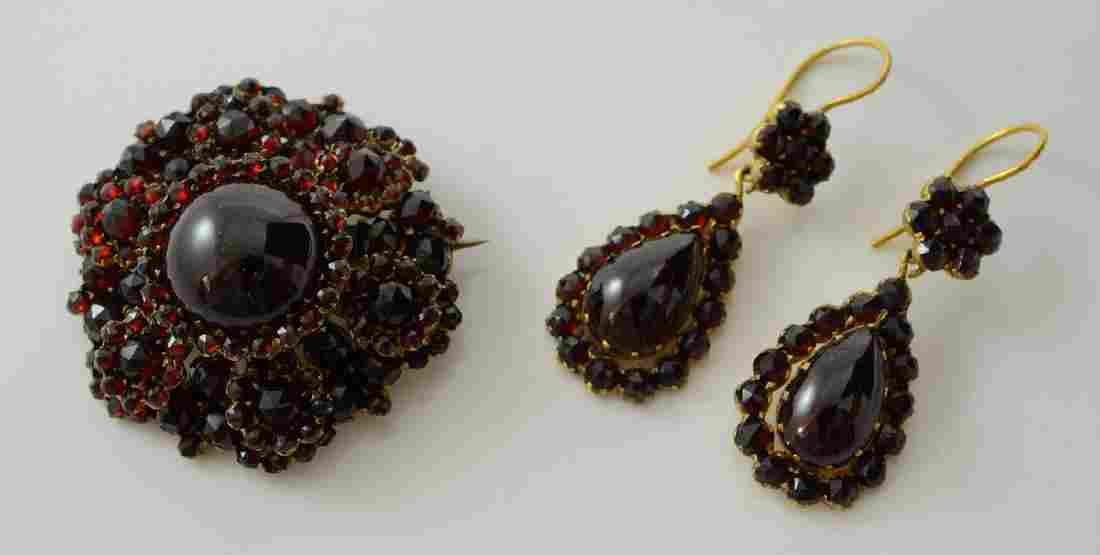 Victorian Garnet Pin and Earrings