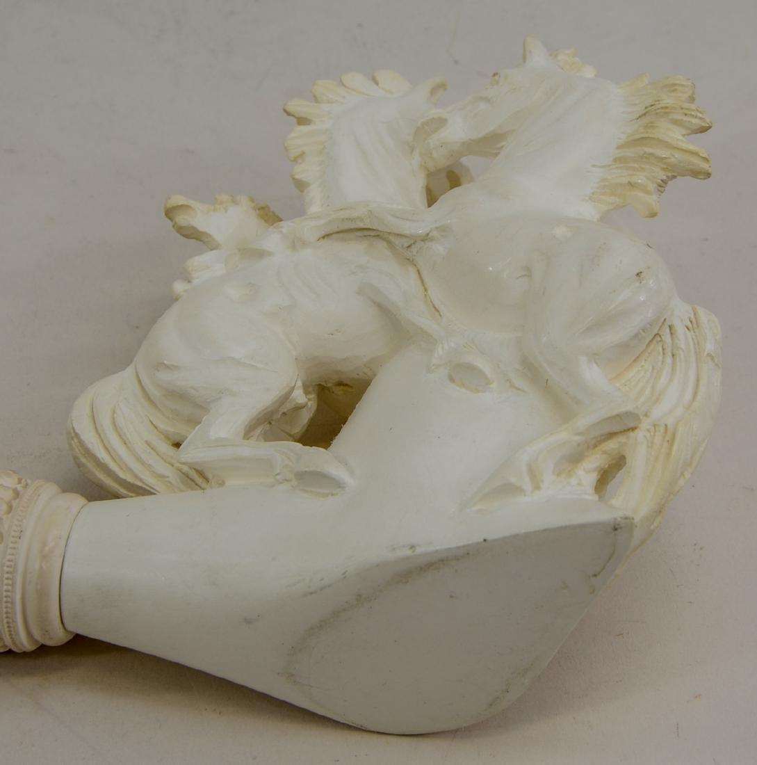 Vintage Carved Meerschaum Pipe w. Horses - 2