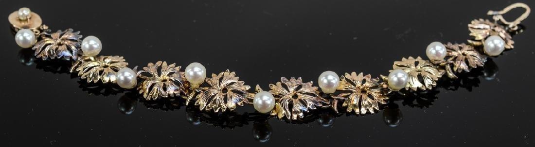 Ladies 14K Gold & Pearl Bracelet