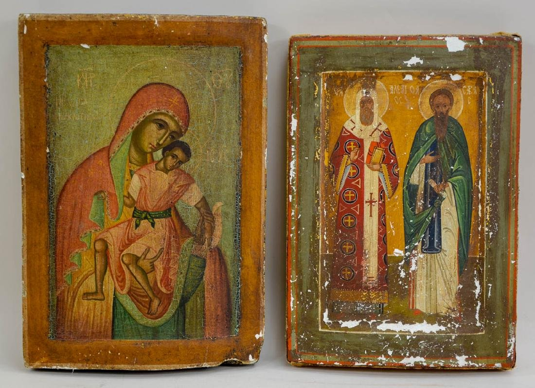 Two Antique Russian Orthodox Icons