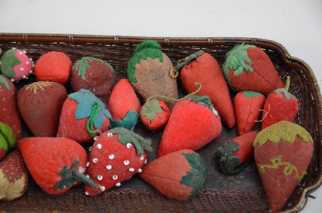 Group of Antique Strawberry pincushions - 3