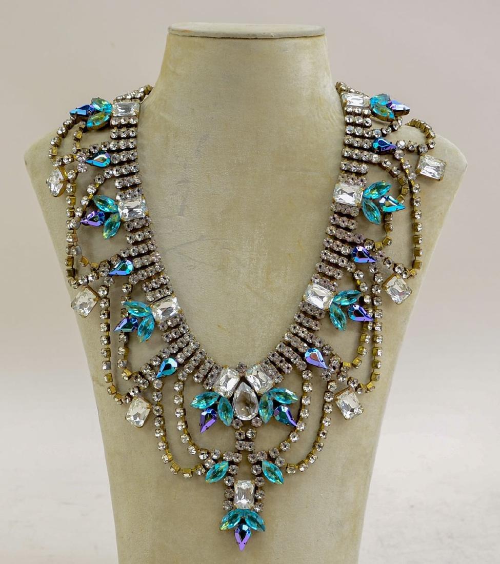 Vintage Rhinestone Fashion Bib Necklace