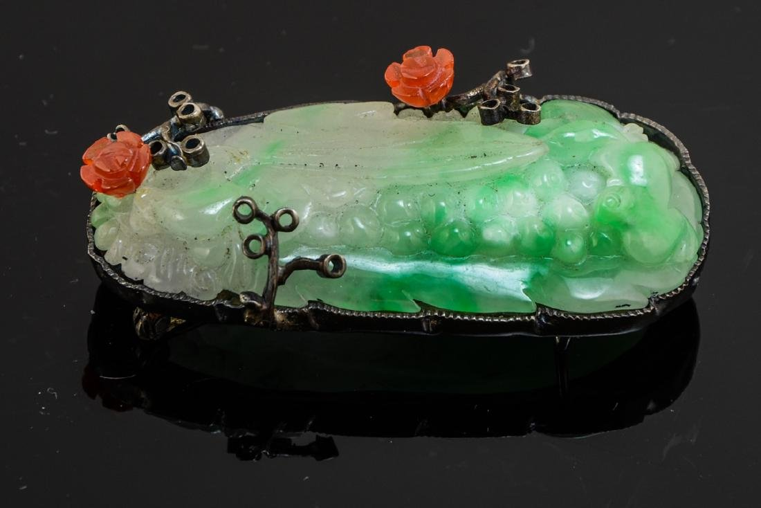 Chinese Jade and Silver Pin - 2