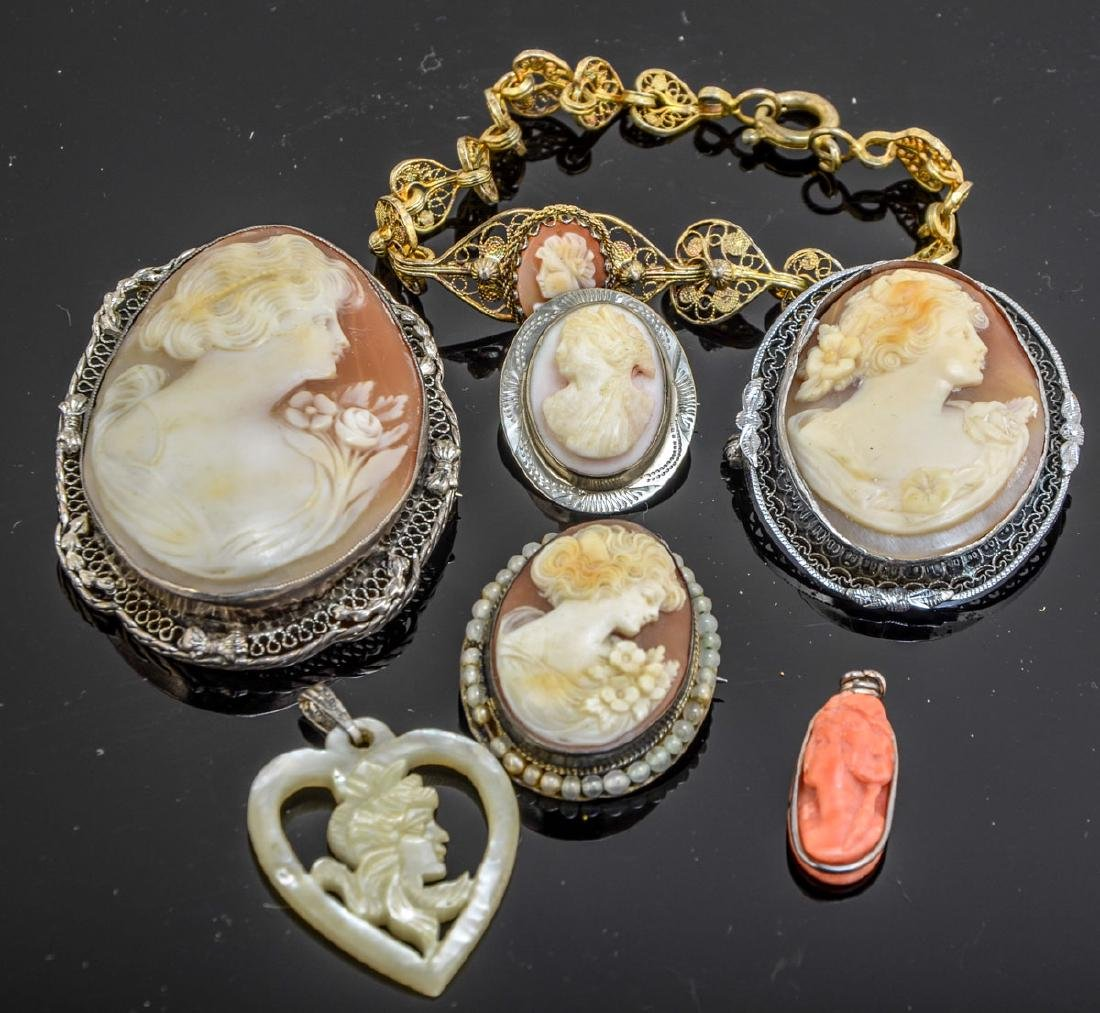 Antique Cameo Jewelry Group