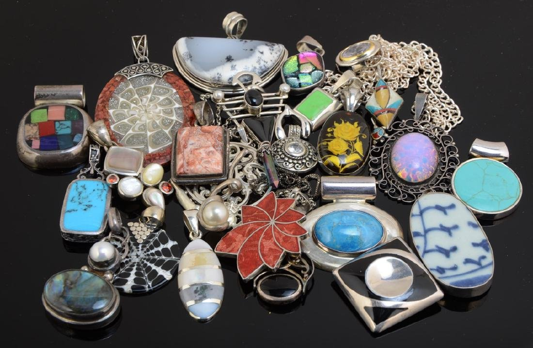 Group of Silver and other pendants