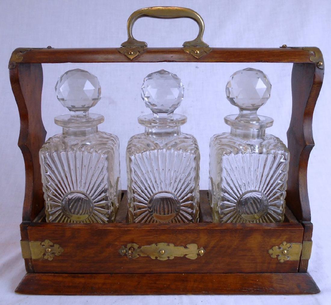 Antique Oak & Brass Tantalus w/Key & Decanters