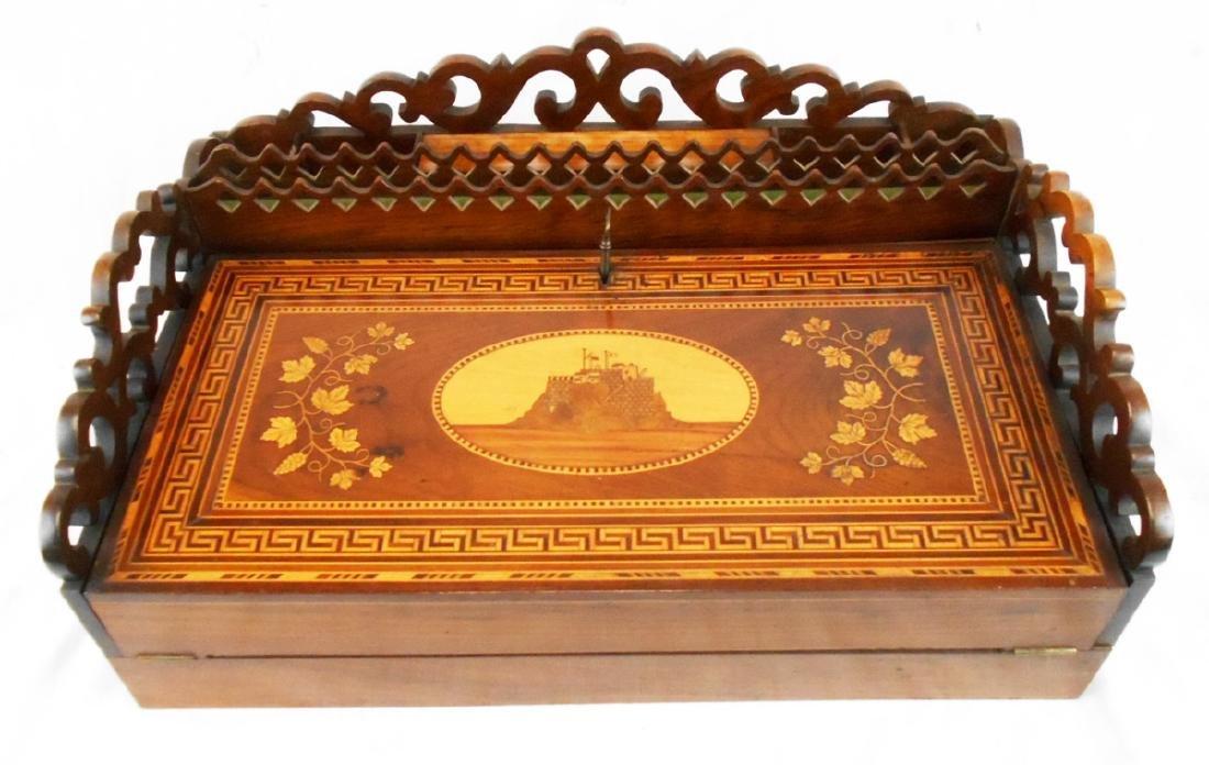 Antique Inlaid Wood Writing Lap Desk w/Key
