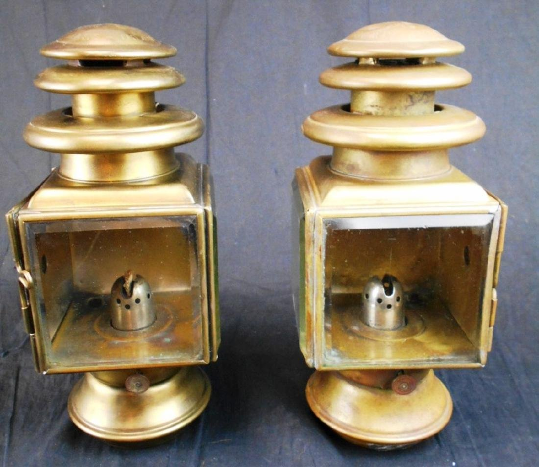 Pair of Atwood #4 Brass Carriage Lamps