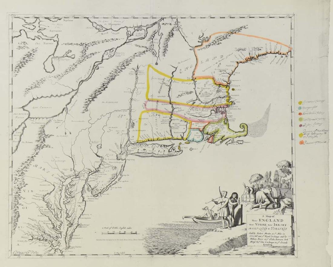 Early Map of New England: Robert Morden