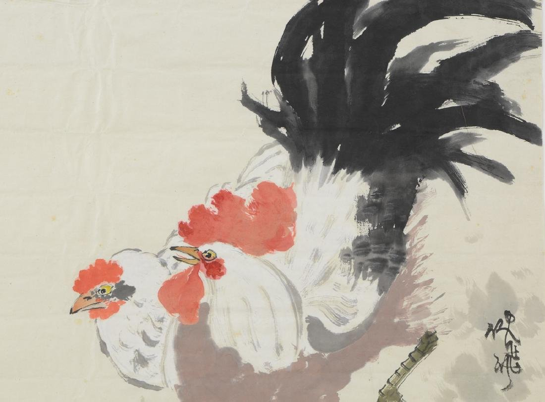 Chinese Watercolor Painting of Roosters - 2