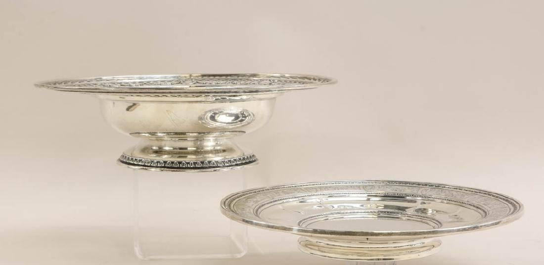 Two Sterling Silver Footed Plates