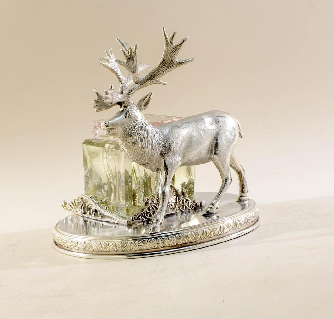 Rogers Smith Silverplate Figural Stag Inkwell - 2