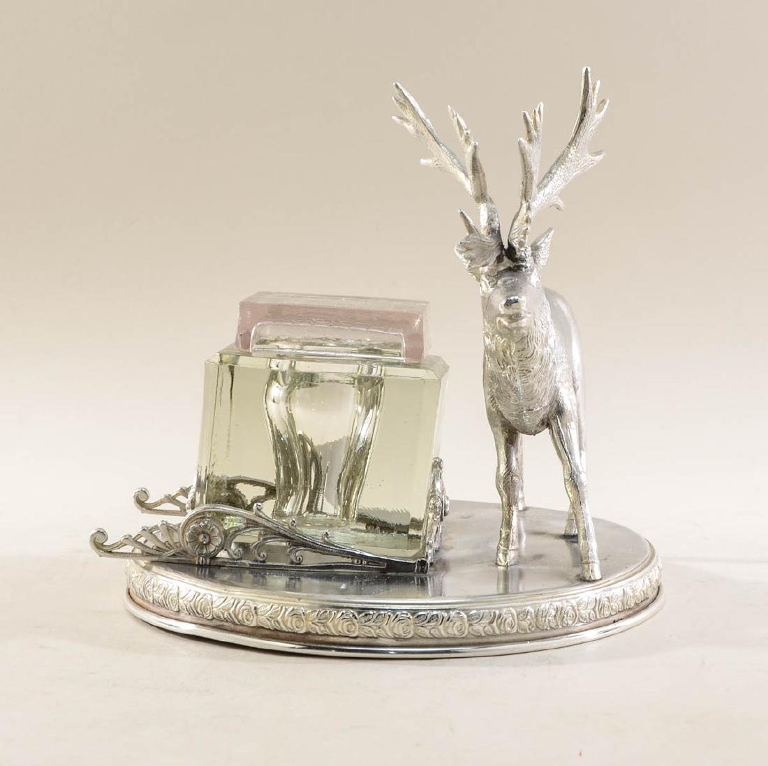 Rogers Smith Silverplate Figural Stag Inkwell - 3
