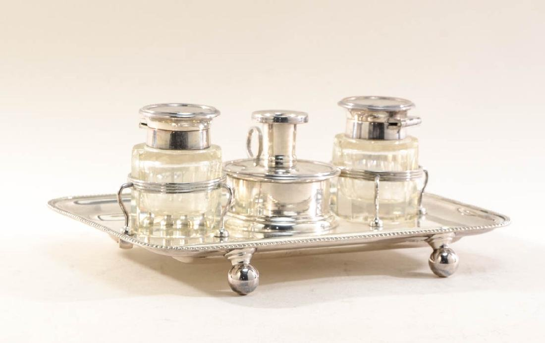 English Silverplate Inkstand