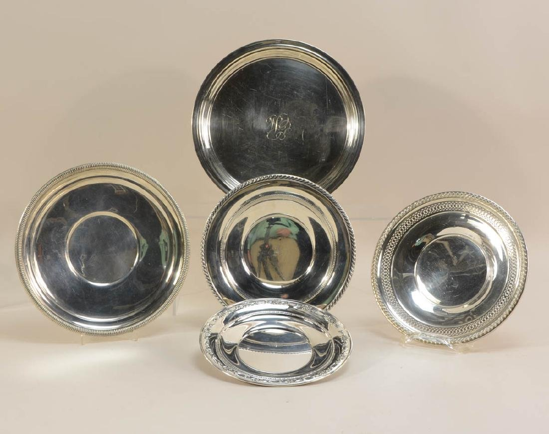 Five Sterling Silver Plates
