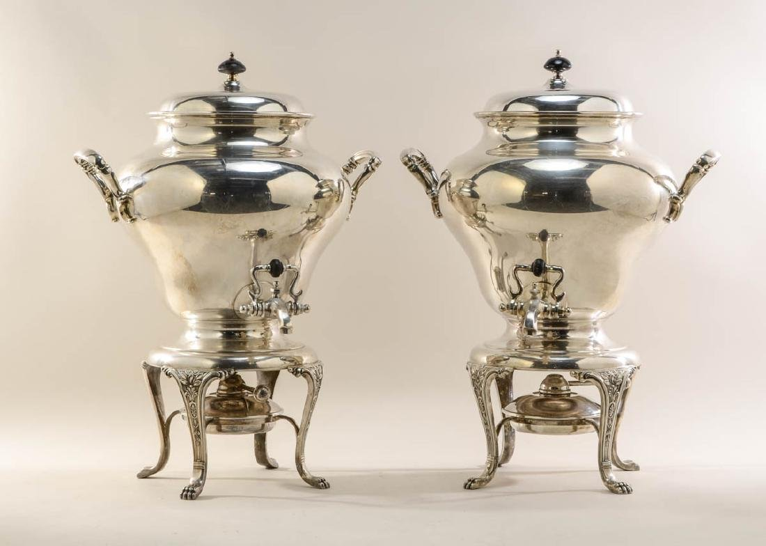 Two Large Silverplate Hot Water Urns