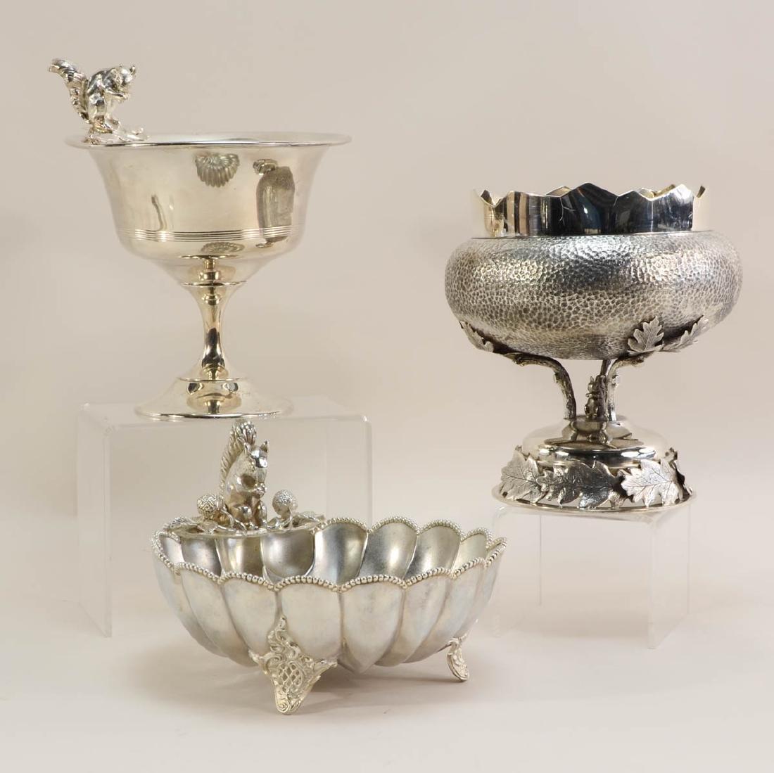 Three Silverplate Nut Bowls