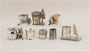 8 Figural Silverplate Toothpick Holders