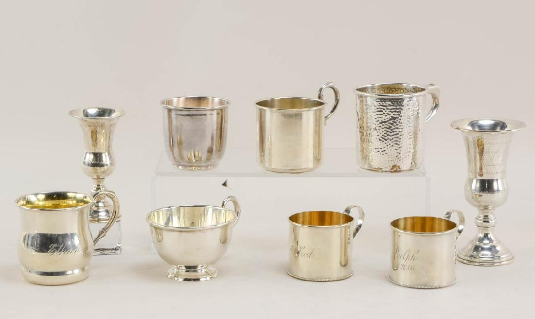 Nine Sterling Silver Cups