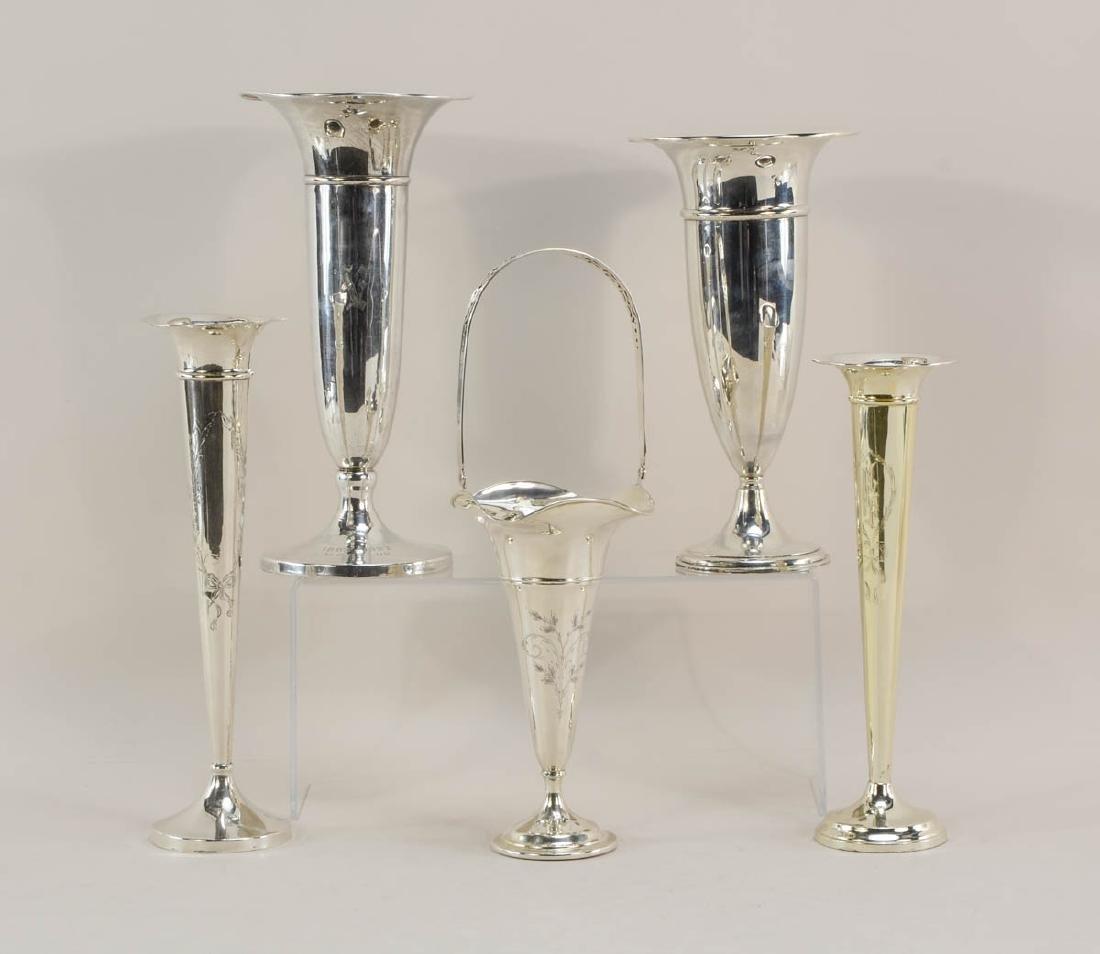 Five Sterling Silver Trumpet Vases