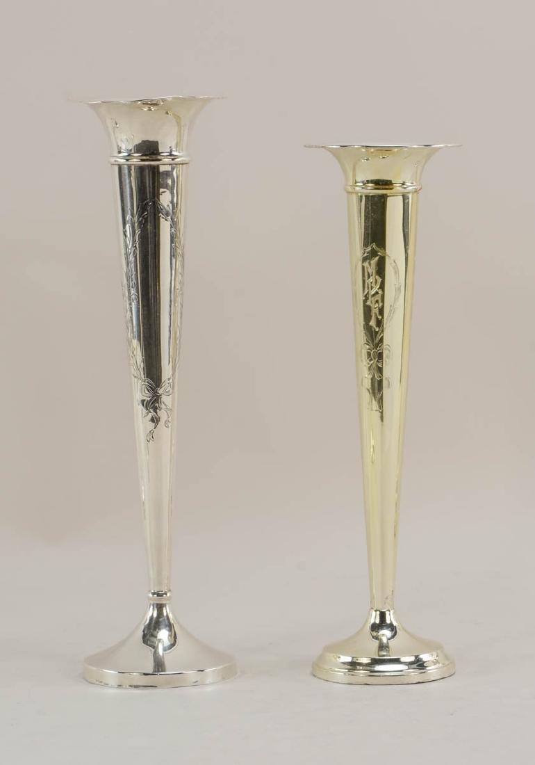 Five Sterling Silver Trumpet Vases - 3