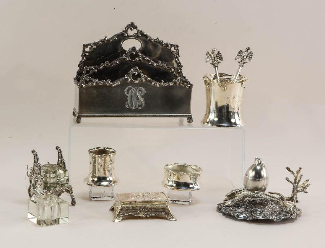 Group of desk items in silver plate