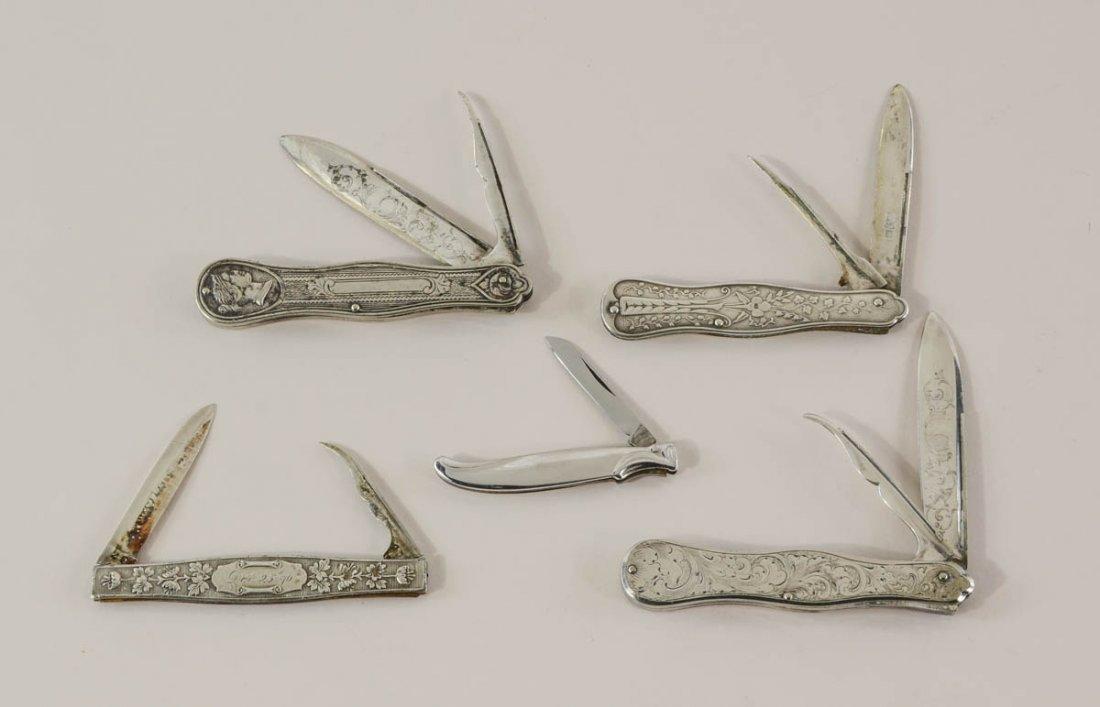 Group of Silver Pocket Knives