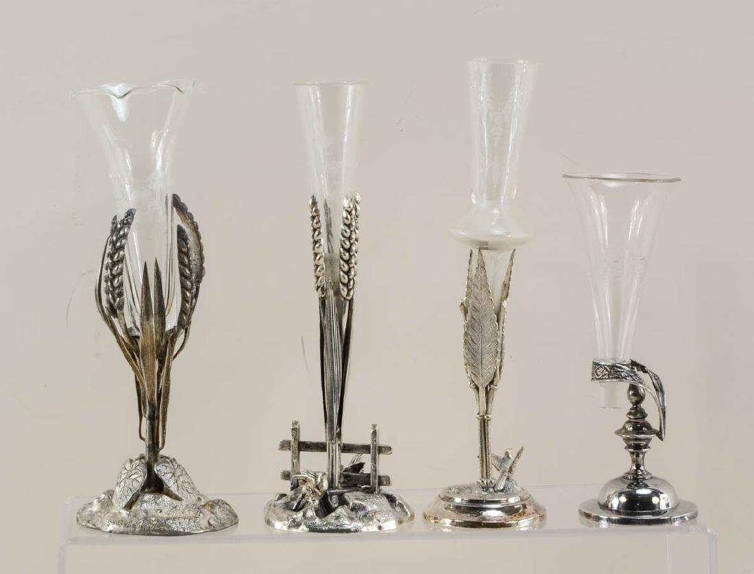 11 silver plated figural bud vases - 2