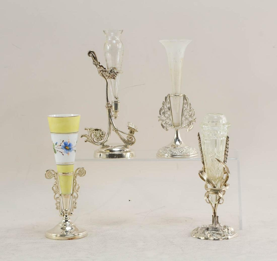 11 silver plated figural bud vases - 4